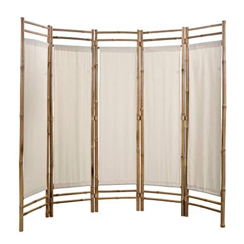 SOULONG 5-teilig Paravent Raumteiler Trennwand Sichtschutz Raumteiler Bambus und Leinwand, faltbar/flexibel verstellbar, wetterfester Polyester-Stoff, Creme, 200 x 160 cm