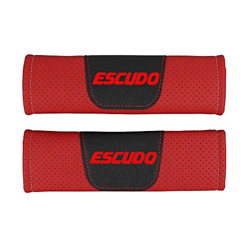 Wlkjhty 2 Piezas Almohadillas para Cinturón de Seguridad Cuero PU Transpirable para Suzuki Escudo, con Emblema, Almohadillas Protectores de Coche Hombro