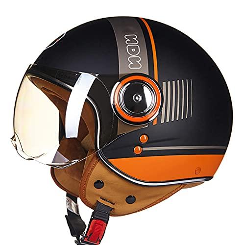 LAMZH Casco de motocicleta para adulto, aprobado por ECE/DOT, retro, medio casco para motocicleta, carreras, jet, piloto, ciclomotor, protección (color: D, tamaño: XL)
