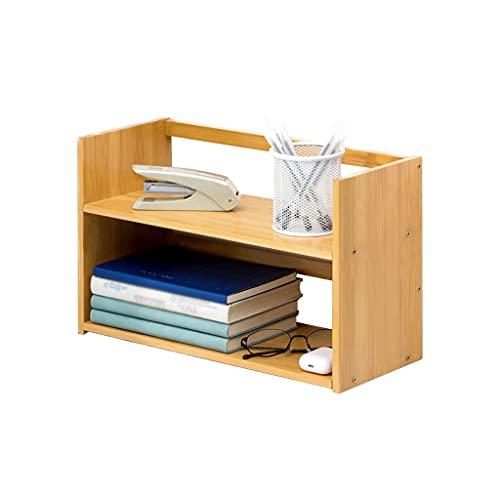 Estantería libreria Bookshelf Bamboo Storage Rack Desktop Pequeño Librería Archivo Revista Rack CD Estantería de bastidor de dos pisos pequeña estantería 9.84 pulgadas de alto Oficina Estanteria