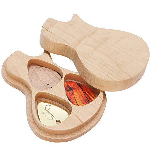 Pick box per chitarra, scatola in legno massello di acero Supporto per plettro con 3 plettri Regali per chitarrista Accessori per strumenti musicali