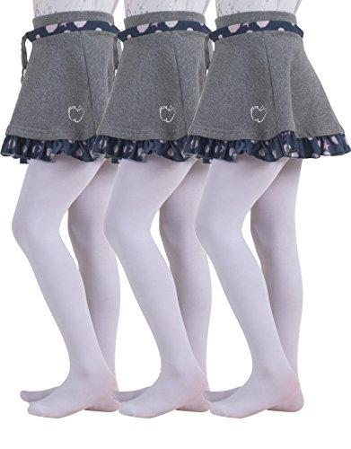 3 PAIRES COLLANTS POUR FILLES EN MICROFIBRE | COLLANTS POUR ENFANTS ECOLE | COLLANTS UNIFORME SCOLAIRE | 40 DEN | DE 2 A 14 ANS | BONNETTERIE ITALIENNE (3 Paires Blanc, 4/6 ans)