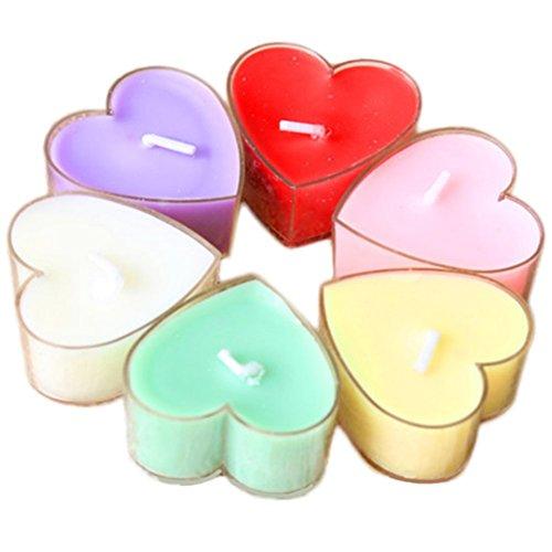 ruikey 12Colorful Herzform Duftkerze Rauchfreie Romantisches Candle für Rechtfertigung Teelichte Hochzeit Weihnachten Geburtstag Party