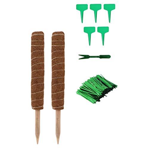 Angoily 2 Stück Kokos Totempfahl für Pflanzen mit 5 Stück Pflanzenetiketten Und 50 Stück Pflanzendrehbinder 19 Zoll Moosstangen für Kletterpflanzen Monstera Und Topfpflanzen für Die