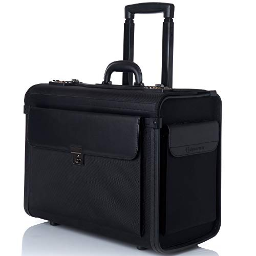 Alpine Swiss Rolling 17' Laptop Briefcase on Wheels Attache Lawyers Case Legal Size Black