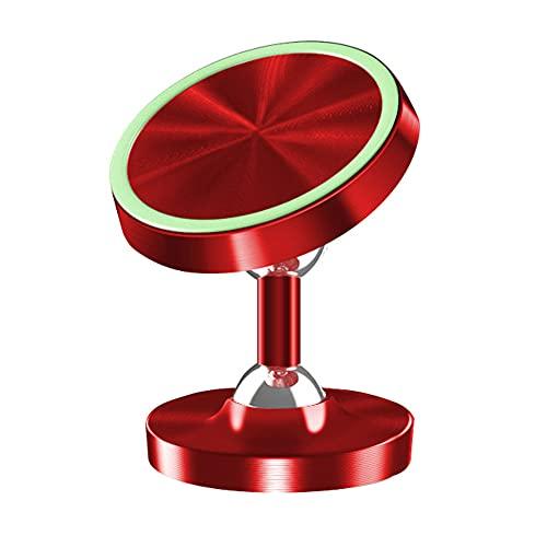 Soporte para teléfono móvil Soporte para teléfono móvil Soporte de teléfono de coche Luminoso Metal magnético Soporte de teléfono para parabrisas Dashboard Auto Suministros para teléfono móvil Rojo