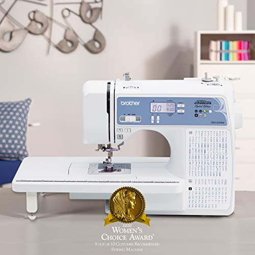 Brother Quilting Machine, XR9550PRW, Project Runway 165 Built-in Stitches, LCD Display, Wide Table, 8 Included Sewing Feet, White