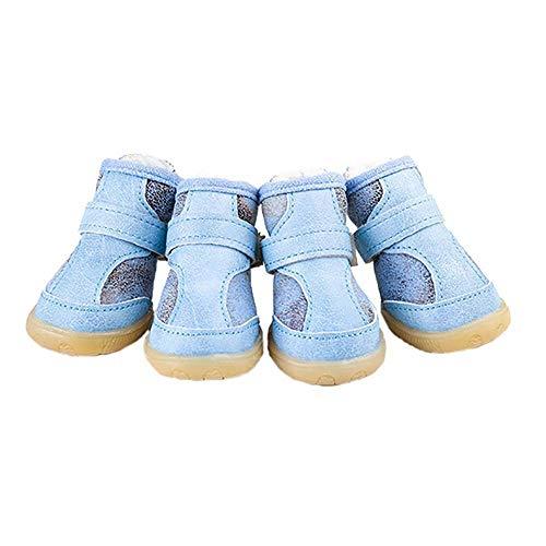 CUIZC Zapatos para perros respetuosos con la piel y cálidos, con apertura de cremallera y suela de tendón.