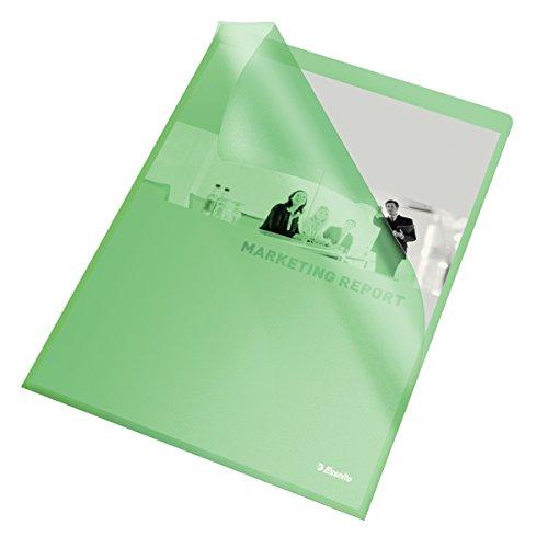 Esselte Sichthüllen-Set Standard Plus, 100 Stück, A4 Format, Grün mit matter Oberfläche, 0,115 mm PP-Folie, 54838