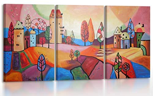 YS-Art | Cuadro Pintado a Mano Ciudad Fabulosa | Cuadro Moderno acrilico | 120x60 cm | Lienzo Pintado a Mano | Cuadros Dormitories | único | 3-Partes