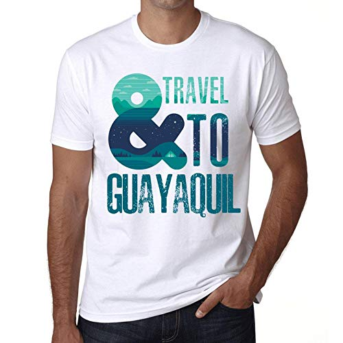 Hombre Camiseta Vintage T-Shirt Gráfico and Travel To Guayaquil Blanco