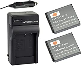 DSTE Replacement for 2X KLIC-7004 Battery + DC30 Travel and Car Charger Adapter Compatible Kodak EasyShare M2008 PlayFull Dual PlaySport PlayTouch Pentax Q7 Q-S1 Ricoh WG-M2 as NP-50 D-li68