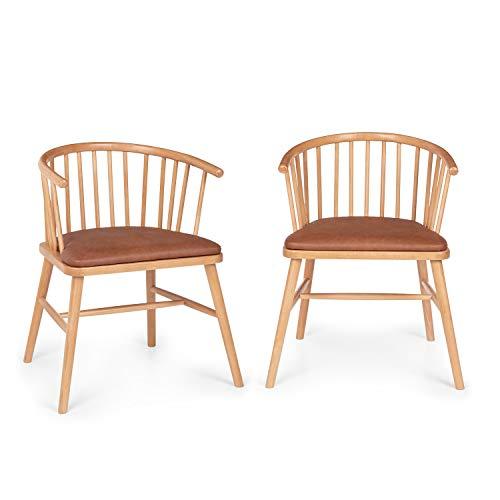Besoa Nyssa Juego de sillas de Comedor - Madera de Haya, Cojín de Asiento en imitación de Cuero, para complementar con Mesa de Comedor Besoa Svenson, Color Marrón