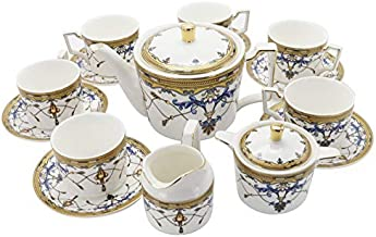 fanquare 15 Pieces Porcelain Tea Sets British Royal Series,Blue Vintage Pattern China Coffee Set,Tea Service for Adults