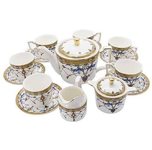 fanquare 15 Piezas Juegos de Té de Porcelana Serie Real Británica, Juego de Café China de Patrón Vintage Azul, Juego de Vajillas para Adultos