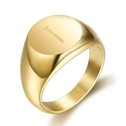 BOBIJOO JEWELRY - El Anillo de sellar el Hombre Iniciales Grabadas en la Elección de Acero Inoxidable Chapado en Oro de 13mm - 17 (8 US), I - Acero 316 - Oro
