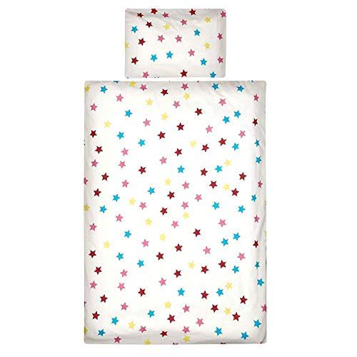 Aminata Kids Kinderbettwäsche 100x135 Sterne Stern-Motiv Junge Mädchen Baumwolle Reißverschluss weiß mit bunten Sternen - Baby-Kinder-Bettwäsche-Set Kinderbettwäsche rot, gelb blau, rosa, weiß