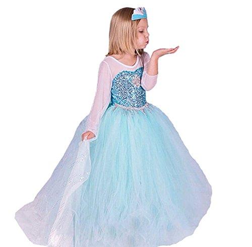 ELSA & ANNA Princesa Disfraz Traje Parte Las Niñas Vestido (Girls Princess Fancy Dress) ES-FR314 (6-7 Años, ES-FR314)