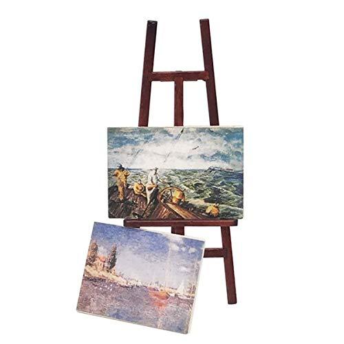 Gojiny - Set di decorazioni in miniatura per casa delle bambole, in miniatura 1:12, con cavalletto in legno in miniatura e 2 dipinti a olio in miniatu