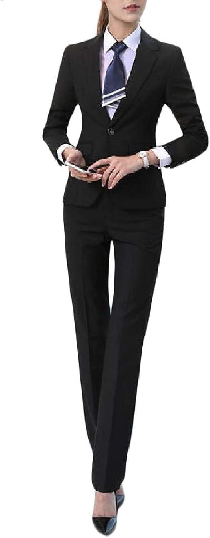 MacondooCA Womens Casual Coat Solid Pants Work 2PCS Jacket Suit Sets