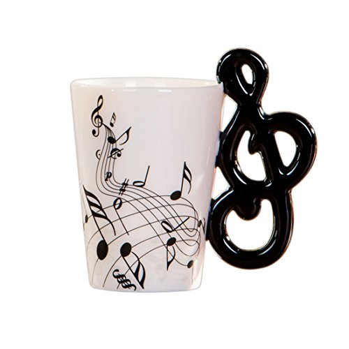 Exanko Taza de Ceramica del Manejar de Nota de la Novedad Creativa Espectro Libre Taza de te de Leche cafetaza de la Personalidad Taza Regalo Instrumento Musical Unico