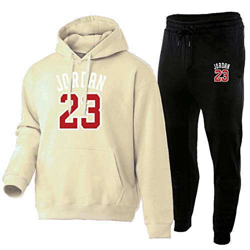 NFNF - Chándal completo para hombre y niño jordán, conjunto de 2 piezas, con capucha, de baloncesto, manga larga, cómodo y cálido clásico y pantal beige-M