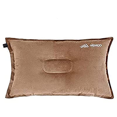 SEMOO Camping Pillow/Self Inflating Air Pillow, Compressible for Camping, Travel and Backpacking (Coffee)