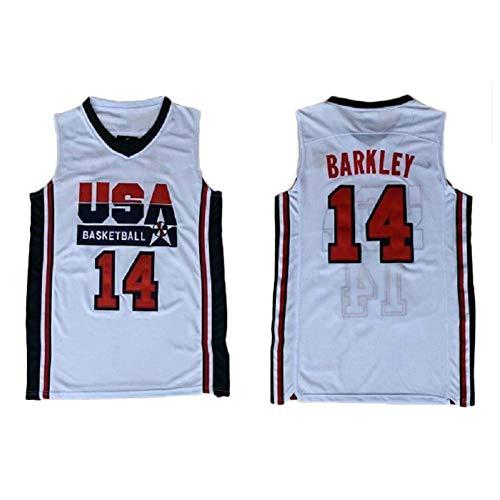 Zyf Maillot De Basket Charles Barkley 14# Jersey Basketball Hommes, T-Shirt Sweat Brodé Résistant À l'usure Respirante, XS-XXL (Color : B, Size : XL)