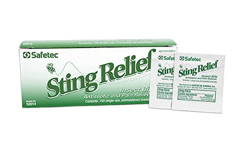 Safetec Sting Relief Insect Bite Antiseptic & Pain Reliever, Wipes, 150 per Box