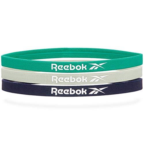 Reebok Marino, Verde, Gris Bandas de Pelo Deportivas-Azul (3 Pack), Unisex-Adult, One Size