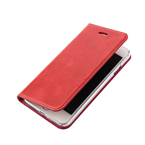 Wormcase Echt Ledertasche - für Apple iPhone SE 2020 und iPhone 8/7 - Handytasche mit Kartenfach – Magnetverschluss - Rot - Klapphülle/Schutzhülle