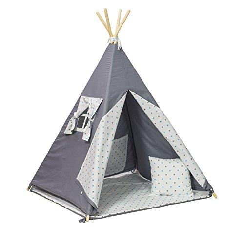Tienda de campana tipi teepee casa para ninos conjunto de 4 elementos (patrón: estrellas gris-turquesa)