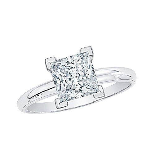 Corte Princesa Diamante Solitario Anillo en 14K oro blanco