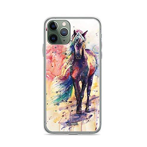 Funda compatible con iPhone 11 con diseño de caballo romántico, acuarela, dibujo, artes de la agricultura animal, amante de la agricultura de animales