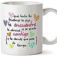 MUGFFINS Taza Original de Desayuno para Regalar a Amigas Amigos y Seres Queridos - Que Todo lo Bueno te SIGA te encuentre y te abrace - 350 ml - Tazas con Frases motivacionales