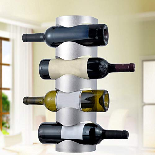 Weinregal Zur Wandmontage, Weinflaschenhalter Aus Metall Für Die Küche, Wasser- Und Weinflaschenhalter Für Arbeitsplatten, Weinlagerregal Mit 4 Ebenen Und 4 Schlitzen