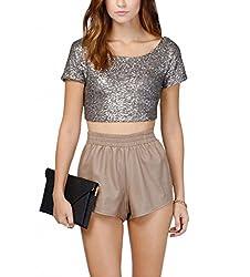 Silver Sequins Backless Crop Top Short Sleeve T-Shirt
