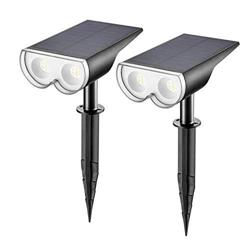 Linkind LED Solar Solarlampen, Licht-Sensorik Solarleuchte, IP67 Wasserdicht Außenwandleuchte 650lm 6500K Tageslicht Weiß Solarlicht, Wiederaufladbar Strahler 2er Pack