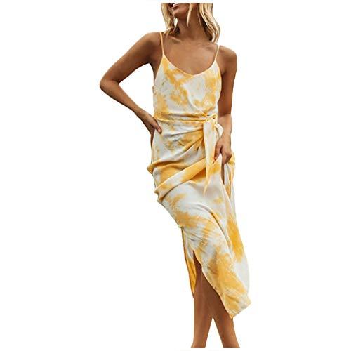 Vestidos Largos Mujer Verano 2020, Dragon868 Moda Mujer Backless High Split Partido Bodycon Vestido Largo Estampado Tie-Dye, Vestido Sexy de Espagueti Cuello V de Playa