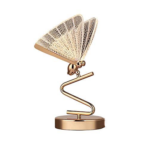 sandy Lámpara de Mesita Noche, Lámpara Mesa LED Nordic Creative Butterfly para Decoración Boda en Casa,Clear