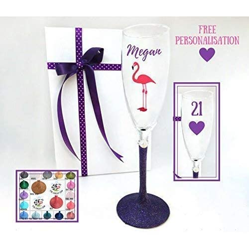 21st Wine Glass Personalised Glitter Gift Birthday Gifts For Her