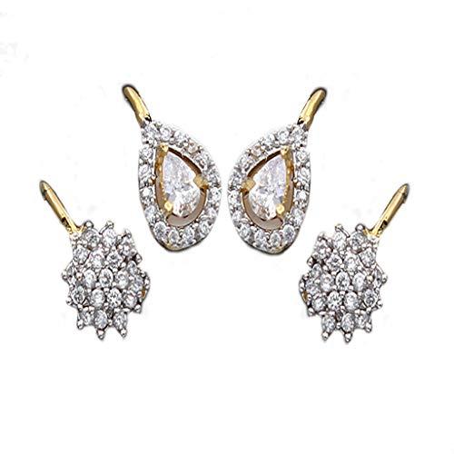 JewelryOnClick Mujer Niñas chapado en oro-cobre pera White Circonita cúbica