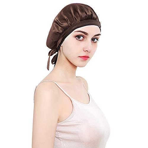 HINATAA Schlafkappe aus 100 % Maulbeerseide, Schlafmütze für Frauen, Kopfbedeckung für Haare, Schönheit mit elastischem Band für Schlaf, Haarausfall, Haarschutz Gr. Einheitsgröße, braun