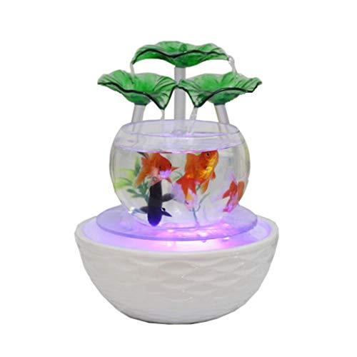Zen Aquarium LED Trübungen Licht Zirkulierendes Wasser Runde Aquarium Transparente Glas Lotus-Blatt Mit Atomizer