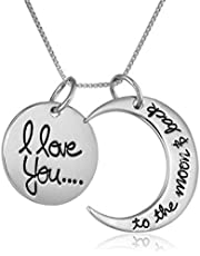 Vtop I Love You To The Moon and Back Antique Silver Necklace