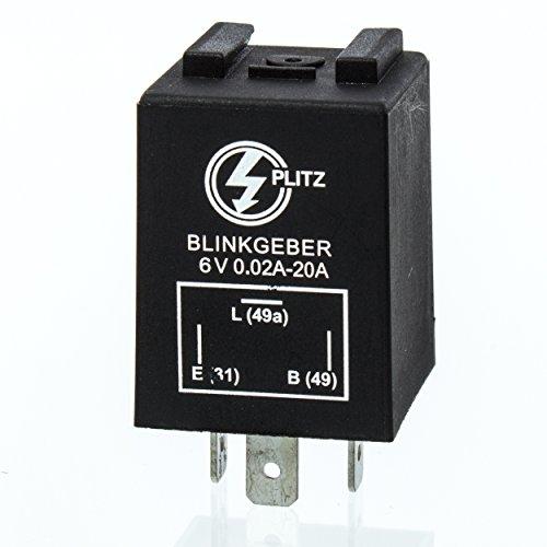 Elektronischer Blinkgeber 6V - PLITZ - 3-poliger Anschluß (31, 49, 49a) - 0,02-20 A - entspricht 0,24-240 W - universell einsetzbar - mit Haltewinkel