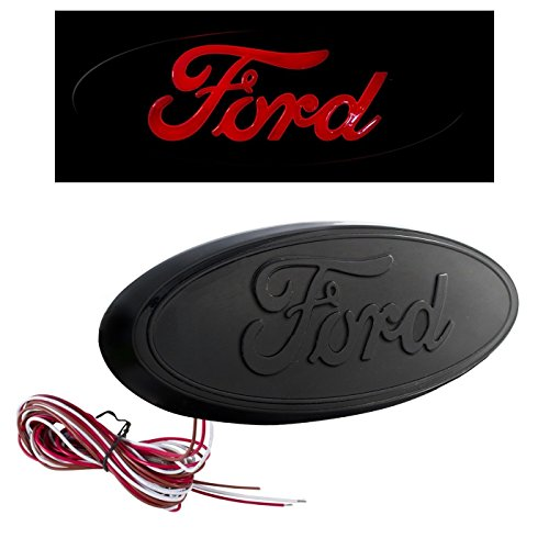 "2004-2014 F-150 7"" Tailgate Red LED Light Up All Black Oval Emblem Works WITH Back Up Camera"
