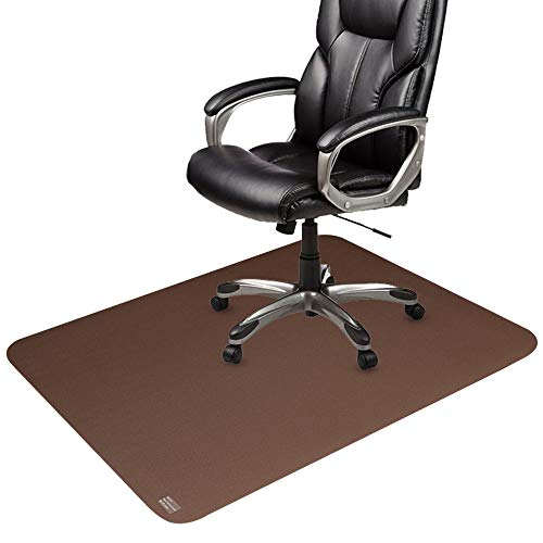 Office Chair Mat Brown, Non-Curve Under Computer Desk Pad for Hardwood Floor and Heavy Appliance, Anti-slip 47x35x.07' Rectangular Floor Protector, Not Suitable for Carpets