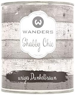 Wanders24 Shabby Chic 750 ml, uriges Dunkelbraun Kreidefarbe für Shabby Chic - chalk paint - Vintage Farbe - Farbe für Holz - Made in Germany