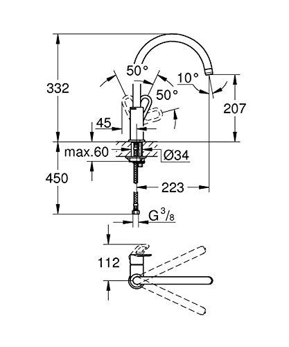 Grohe Start Loop Küchenarmatur, hoher Auslauf, Schwenkbereich 360°, (31374000) - 2